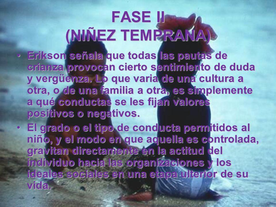 FASE II (NIÑEZ TEMPRANA) Para el niño, liberar sus sentimientos y pensamientos mediante su conducta no es intrínsecamente ni bueno ni malo; estos valo