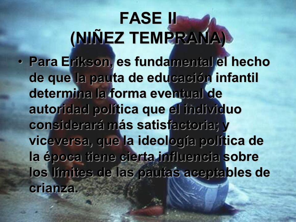 FASE II (NIÑEZ TEMPRANA) Erikson señala que todas las pautas de crianza provocan cierto sentimiento de duda y vergüenza. Lo que varia de una cultura a