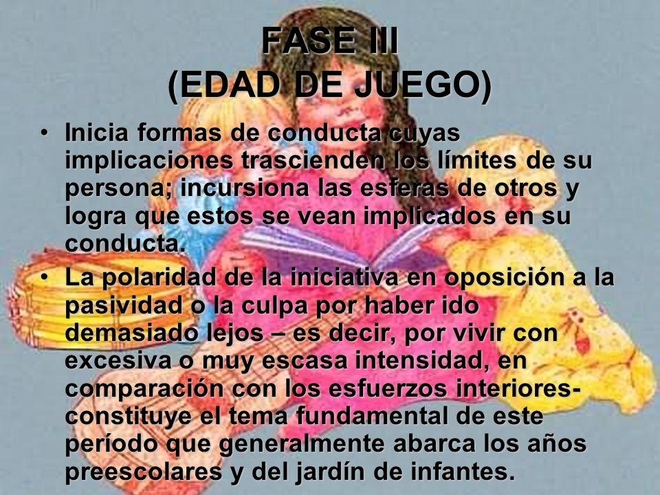 FASE III (EDAD DE JUEGO) Él [y su sociedad] comprenden que se lo cuenta como persona y que la vida tiene una finalidad para él.Él [y su sociedad] comp
