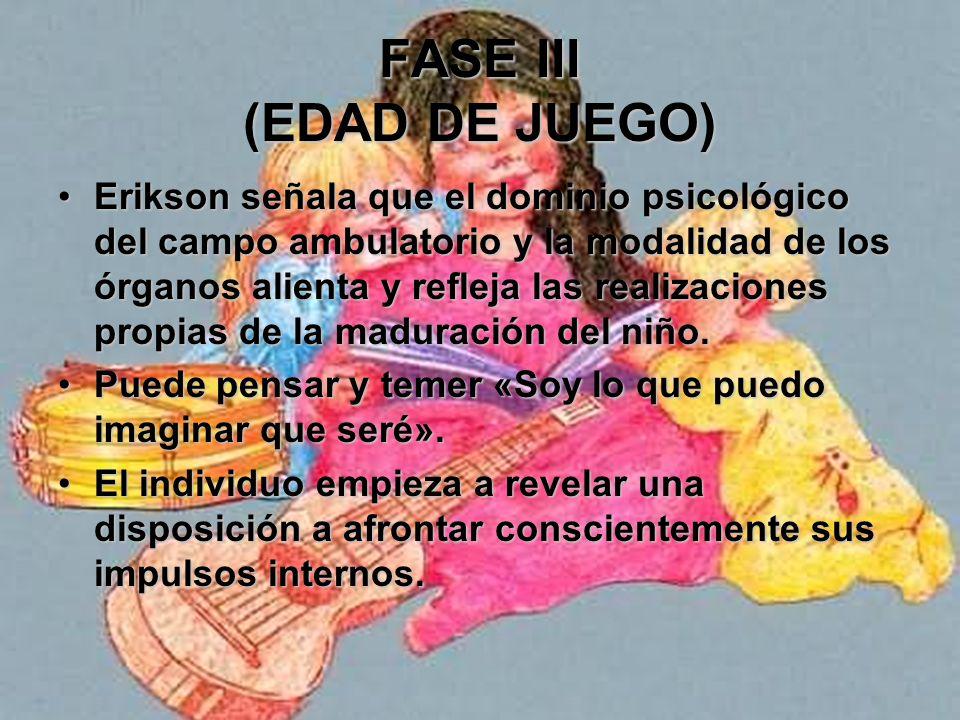 FASE III (EDAD DE JUEGO) Inicia formas de conducta cuyas implicaciones trascienden los límites de su persona; incursiona las esferas de otros y logra