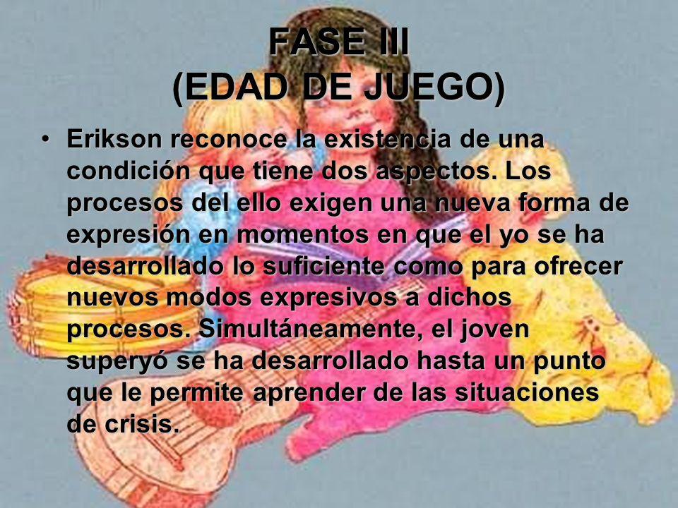 FASE III (EDAD DE JUEGO) Erikson señala que el dominio psicológico del campo ambulatorio y la modalidad de los órganos alienta y refleja las realizaci