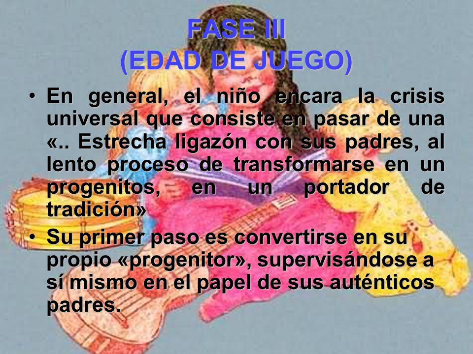 FASE III (EDAD DE JUEGO) Erikson reconoce la existencia de una condición que tiene dos aspectos. Los procesos del ello exigen una nueva forma de expre