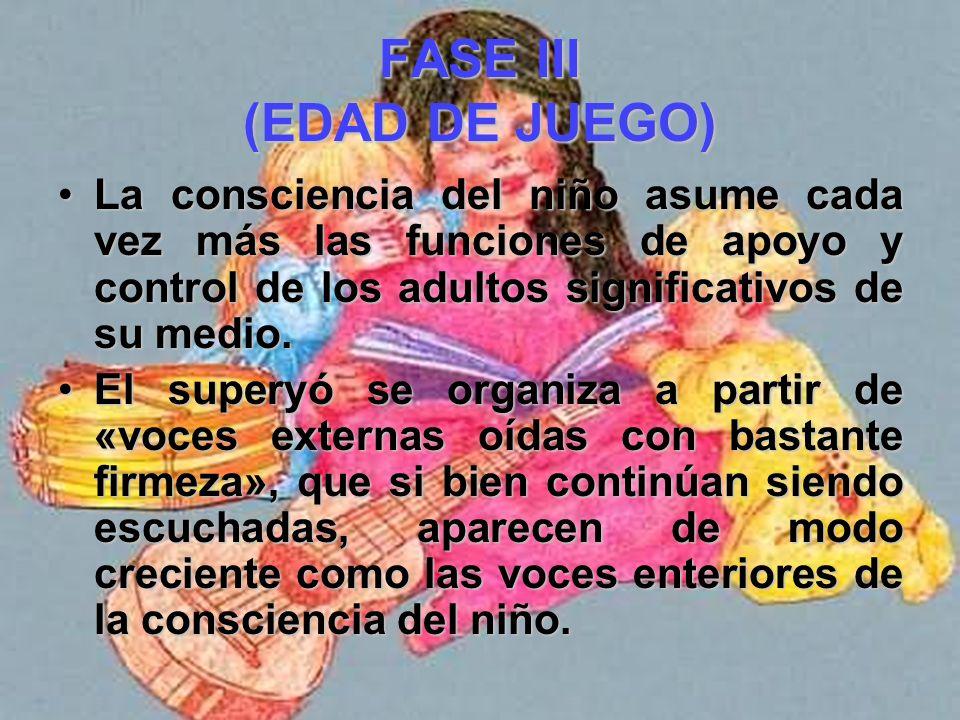 FASE III (EDAD DE JUEGO) En general, el niño encara la crisis universal que consiste en pasar de una «.. Estrecha ligazón con sus padres, al lento pro
