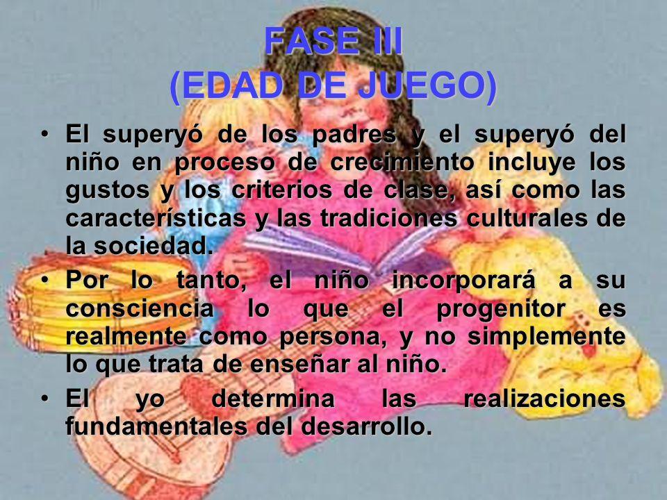 FASE III (EDAD DE JUEGO) En cierto sentido, la consciencia se organiza a partir de los progenitores considerados como modelo; en otro- más valido-, la