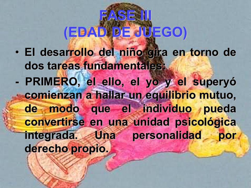 FASE III (EDAD DE JUEGO) Los procesos del yo reflejan las capacidades conductuales del niño y están dirigidos hacia una existencia intencional y un se