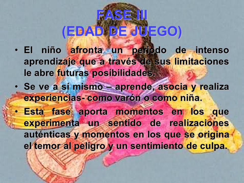FASE III (EDAD DE JUEGO) - SEGUNDO, el joven individuo comienza a advertir diferencias sexuales entre las personas de su medio, y estas diferencias af