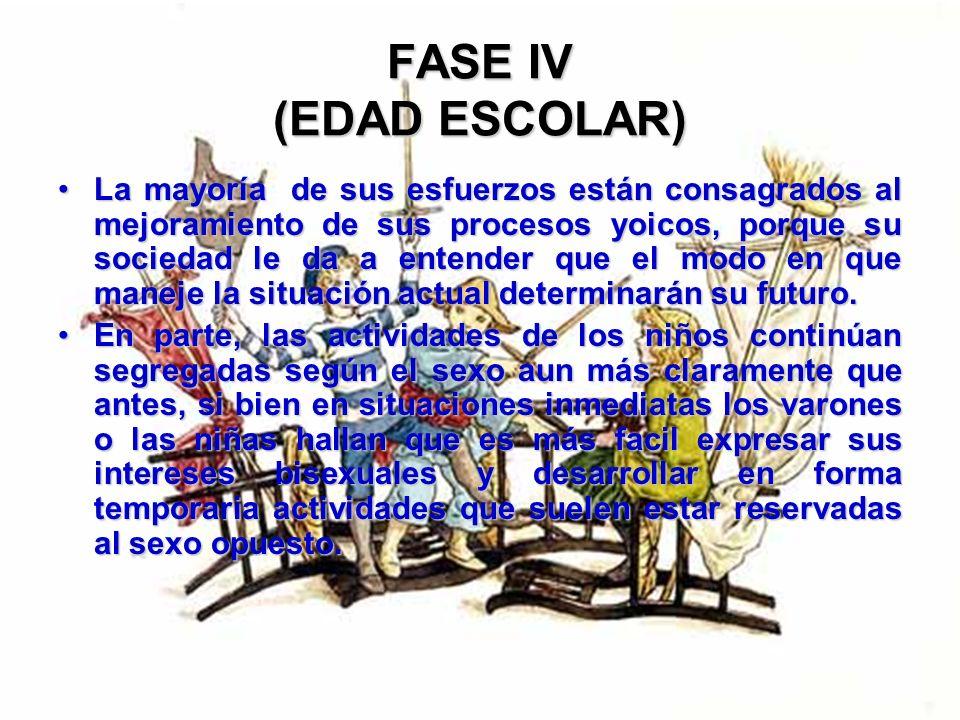 FASE IV (EDAD ESCOLAR) El niño se concentra en su capacidad para relacionarse y comunicarse con los individuos que le son más significativos; sus pare