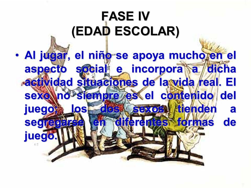 FASE IV (EDAD ESCOLAR) En esencia todas las actividades y sentimientos reflejan esfuerzos competitivos, más que autónomos.En esencia todas las activid