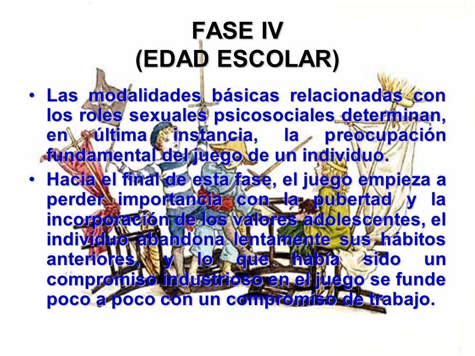 FASE IV (EDAD ESCOLAR) Al jugar, el niño se apoya mucho en el aspecto social e incorpora a dicha actividad situaciones de la vida real. El sexo no sie