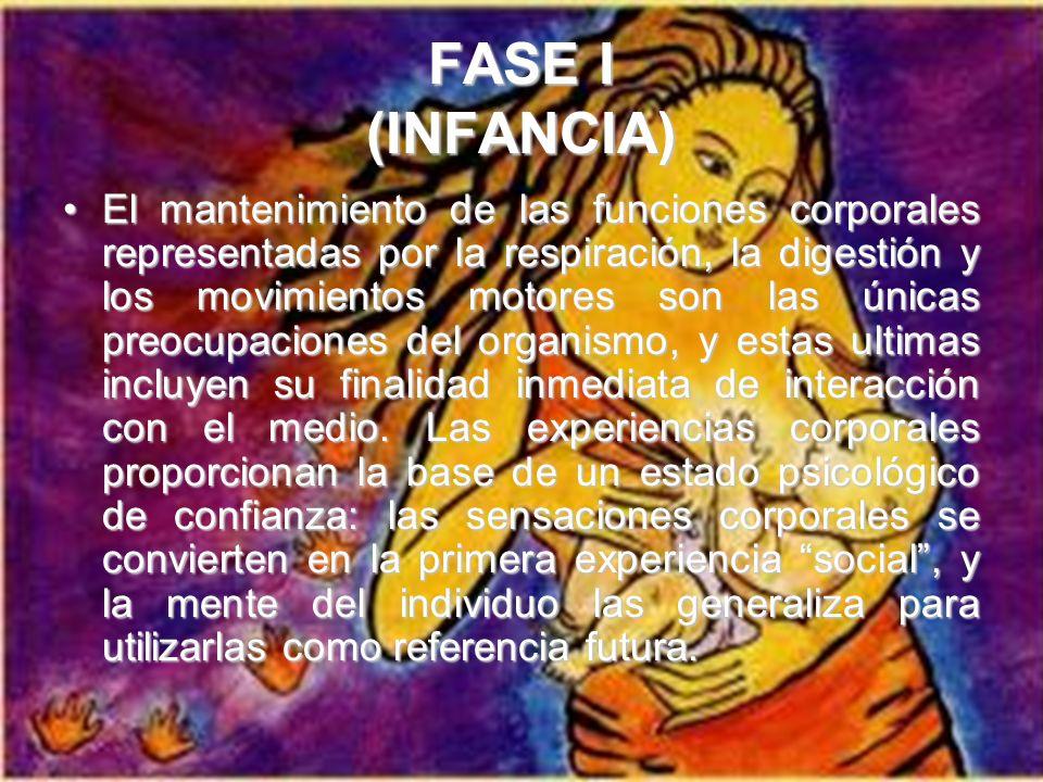 FASE I (INFANCIA) El mantenimiento de las funciones corporales representadas por la respiración, la digestión y los movimientos motores son las únicas preocupaciones del organismo, y estas ultimas incluyen su finalidad inmediata de interacción con el medio.