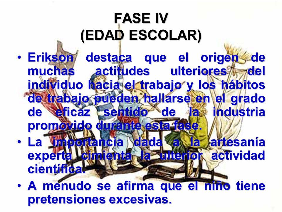 FASE IV (EDAD ESCOLAR) El eje se ha desplazado de la dependencia respecto del progenitor como aquel que más influye en el niño, a la dependencia respe