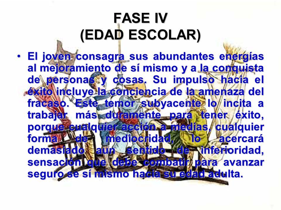 FASE IV (EDAD ESCOLAR) Erikson destaca que el origen de muchas actitudes ulteriores del individuo hacia el trabajo y los hábitos de trabajo pueden hal