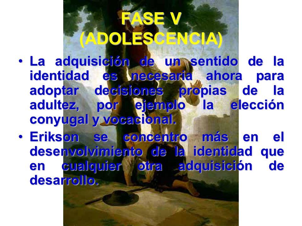 FASE V (ADOLESCENCIA) Adquisición de un sentido de la identidad al mismo tiempo que se supera un sentido de la difusión de la identidad: Realización d