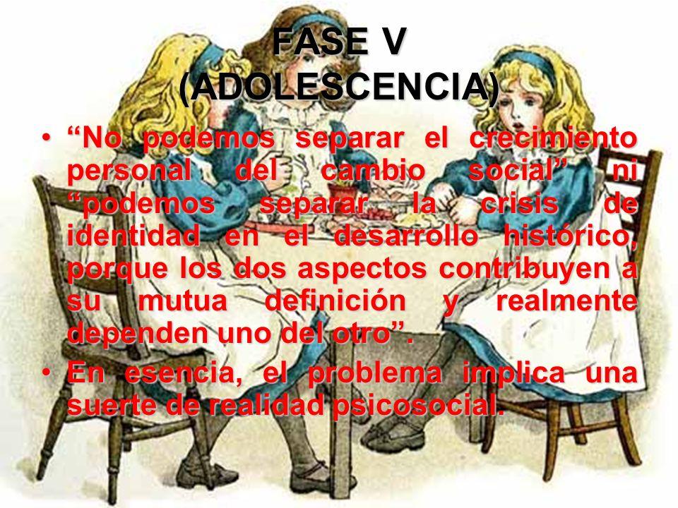 FASE V (ADOLESCENCIA) La adquisición de un sentido de la identidad es necesaria ahora para adoptar decisiones propias de la adultez, por ejemplo la el