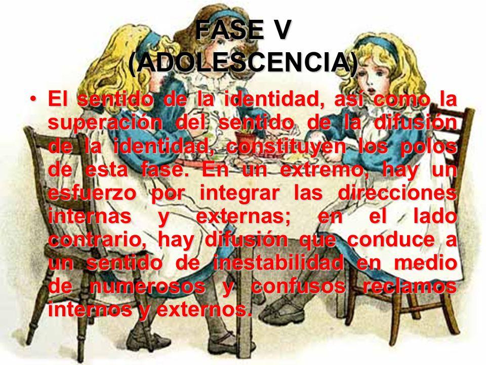 FASE V (ADOLESCENCIA) La formación de la identidad es ahora no solo un problema vinculado con el desarrollo, sino también una cuestión social en un pa