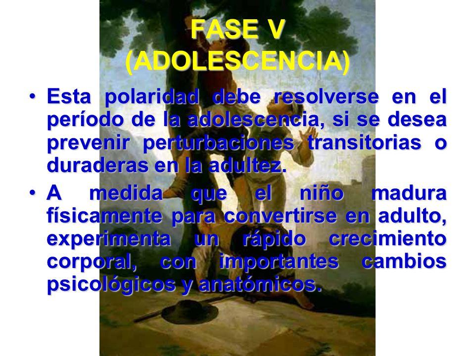 FASE V (ADOLESCENCIA) El sentido de la identidad, así como la superación del sentido de la difusión de la identidad, constituyen los polos de esta fas