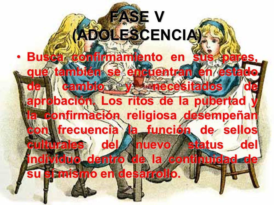 FASE V (ADOLESCENCIA) Esta polaridad debe resolverse en el período de la adolescencia, si se desea prevenir perturbaciones transitorias o duraderas en
