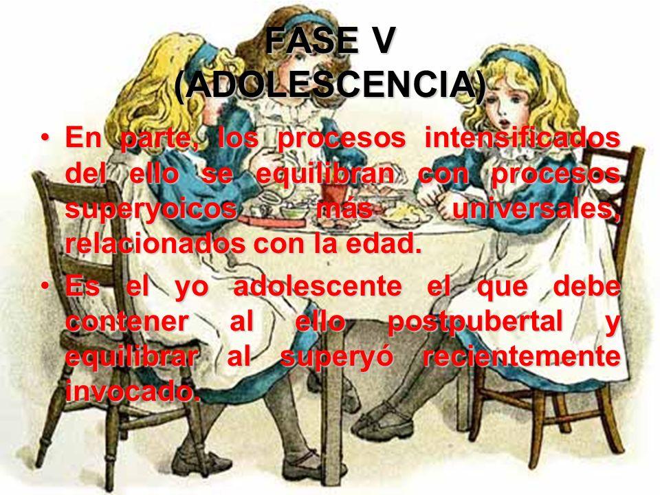 FASE V (ADOLESCENCIA) Ahora es necesario incorporar nuevas fuerzas psicológicas, la mayoría originadas en el ello. Los factores que antes constituían