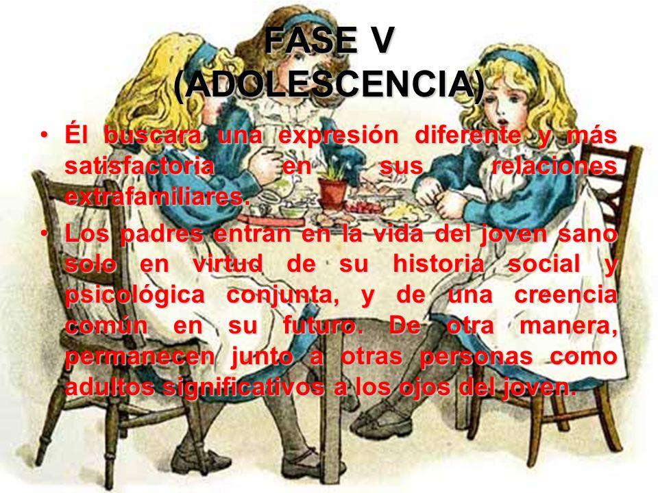 FASE V (ADOLESCENCIA) La repetición del tema edípico halla en el joven una matriz social distinta, que ya no se limita a su posición dependiente en el