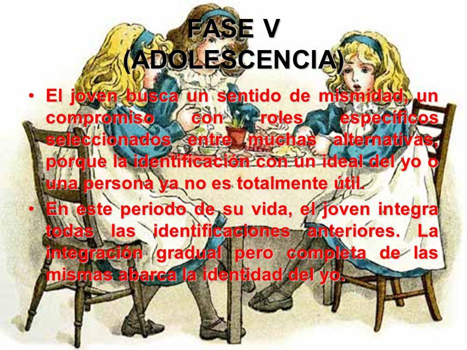 FASE V (ADOLESCENCIA) En la adolescencia, el yo realiza la síntesis gradual del pasado y el futuro. Dicha síntesis es el problema esencial de esta fas