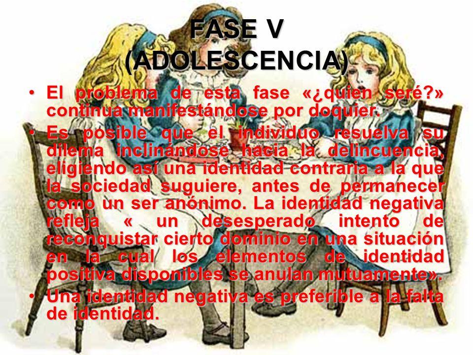 FASE V (ADOLESCENCIA) El joven asume entonces con fidelidad su nueva posición como persona que se halla definitivamente ubicada en los planos psicosoc