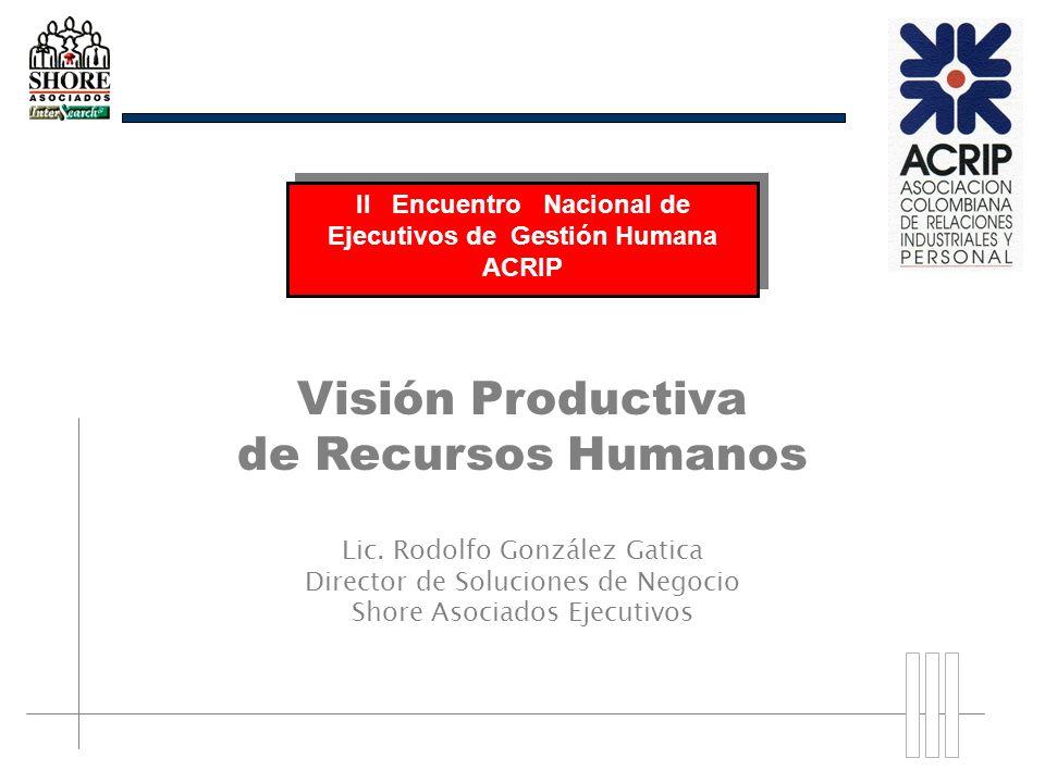 Visión Productiva de Recursos Humanos Lic. Rodolfo González Gatica Director de Soluciones de Negocio Shore Asociados Ejecutivos II Encuentro Nacional