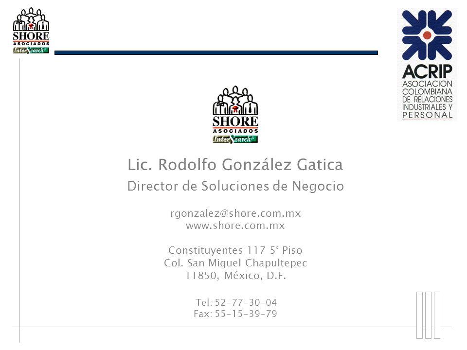 Lic. Rodolfo González Gatica Director de Soluciones de Negocio rgonzalez@shore.com.mx www.shore.com.mx Constituyentes 117 5° Piso Col. San Miguel Chap