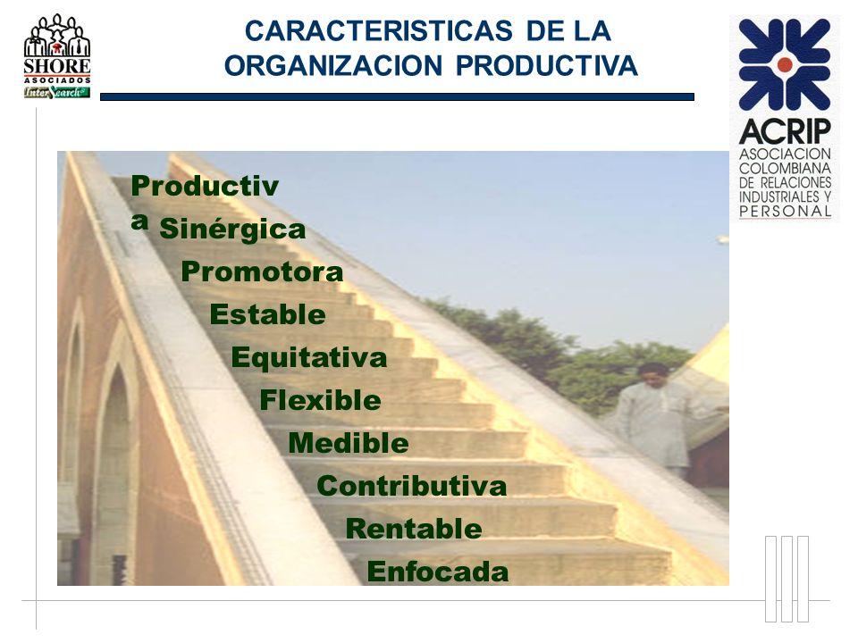 Enfocada Rentable Contributiva Medible Flexible Equitativa Estable Promotora Sinérgica CARACTERISTICAS DE LA ORGANIZACION PRODUCTIVA Productiv a