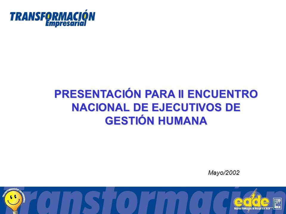 Mayo/2002 PRESENTACIÓN PARA II ENCUENTRO NACIONAL DE EJECUTIVOS DE GESTIÓN HUMANA