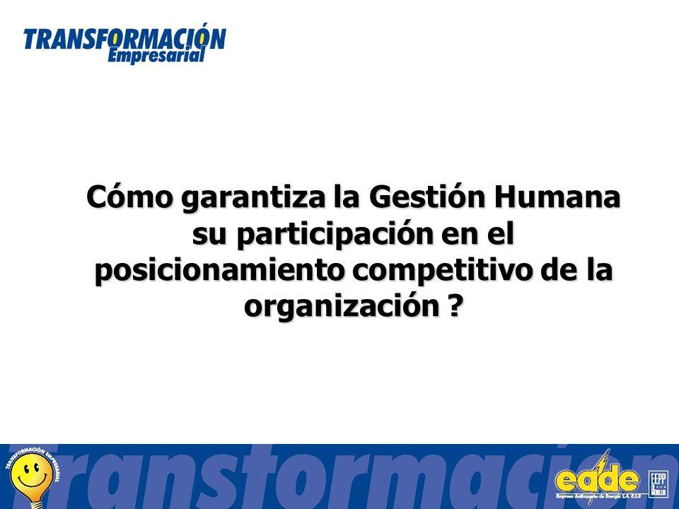 Cómo garantiza la Gestión Humana su participación en el posicionamiento competitivo de la organización ?