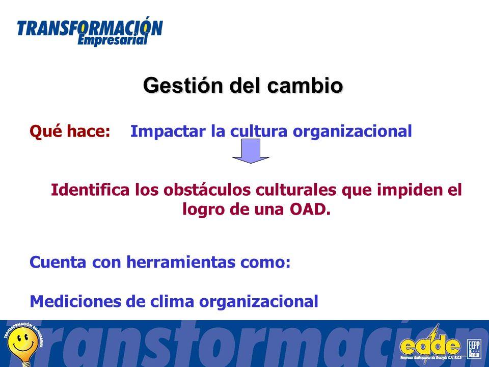 Gestión del cambio Qué hace: Impactar la cultura organizacional Identifica los obstáculos culturales que impiden el logro de una OAD.