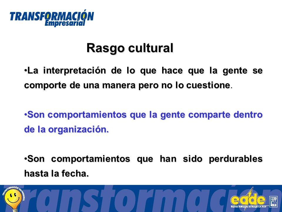 Rasgo cultural La interpretación de lo que hace que la gente se comporte de una manera pero no lo cuestioneLa interpretación de lo que hace que la gente se comporte de una manera pero no lo cuestione.