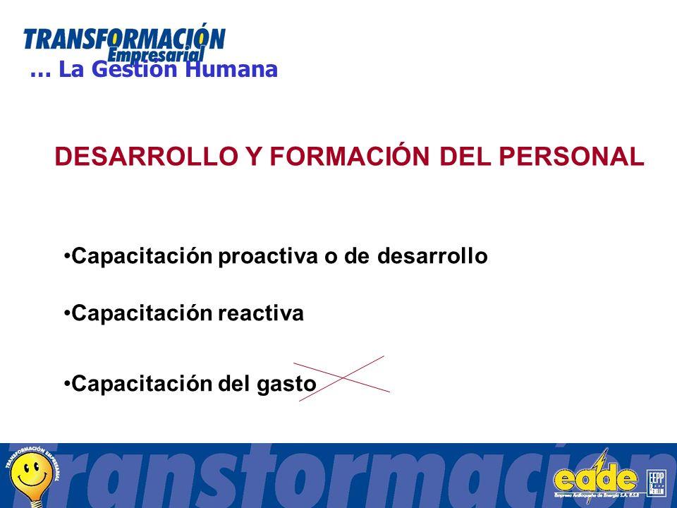 DESARROLLO Y FORMACIÓN DEL PERSONAL Capacitación proactiva o de desarrollo Capacitación reactiva Capacitación del gasto … La Gestión Humana