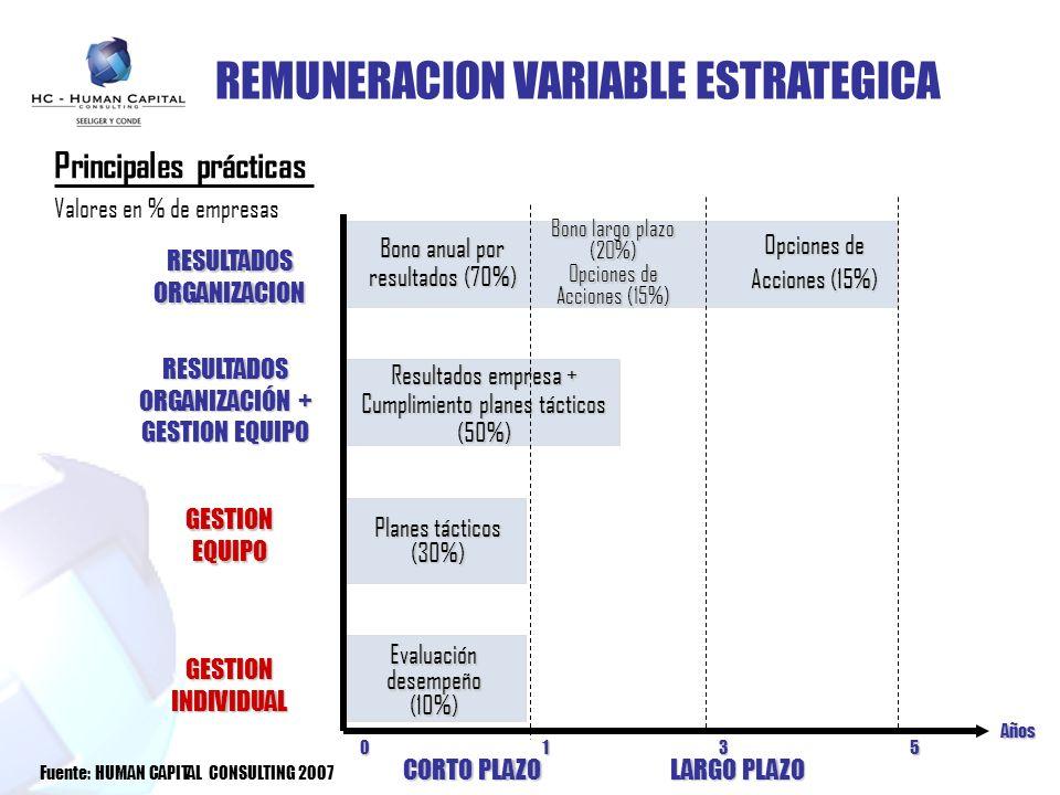 REMUNERACION VARIABLE ESTRATEGICA RESULTADOSORGANIZACION RESULTADOS ORGANIZACIÓN + GESTION EQUIPO CORTO PLAZO LARGO PLAZO Evaluación desempeño (10%) P