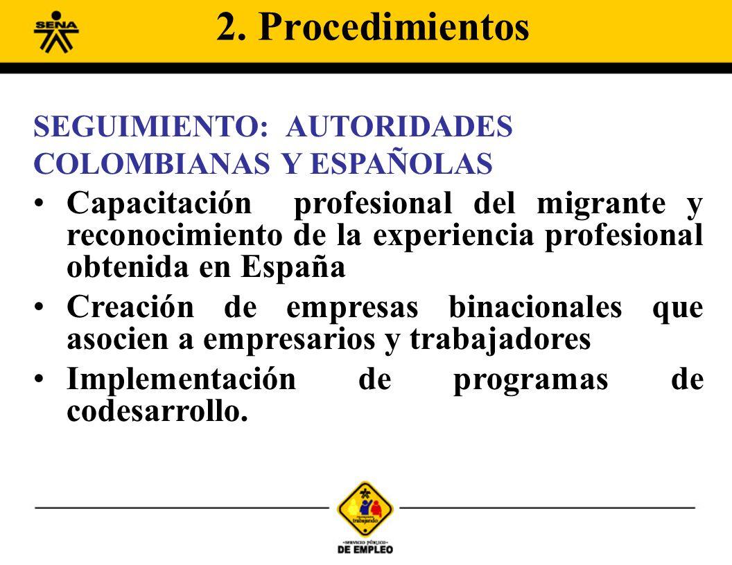 SEGUIMIENTO: AUTORIDADES COLOMBIANAS Y ESPAÑOLAS Capacitación profesional del migrante y reconocimiento de la experiencia profesional obtenida en Espa