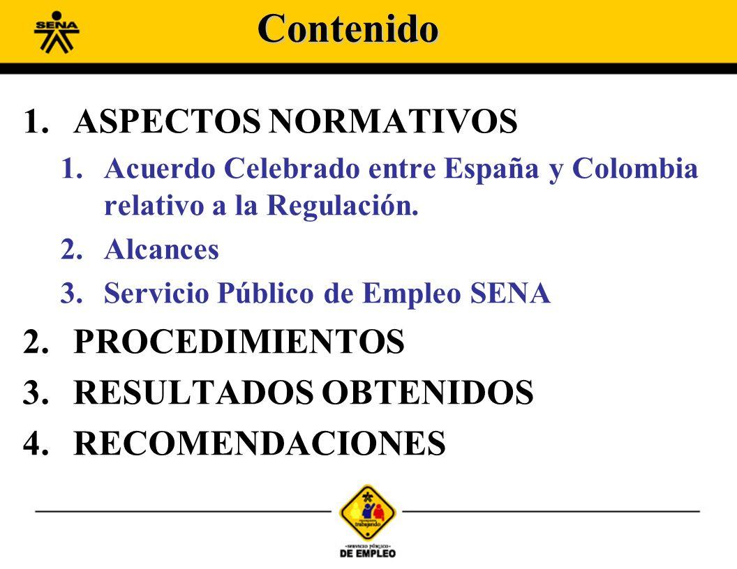 1.ASPECTOS NORMATIVOS 1.Acuerdo Celebrado entre España y Colombia relativo a la Regulación. 2.Alcances 3.Servicio Público de Empleo SENA 2.PROCEDIMIEN