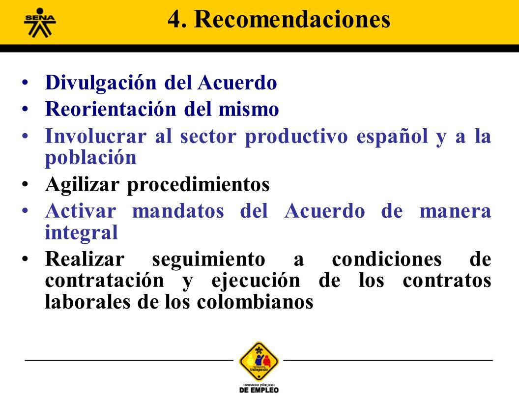 Divulgación del Acuerdo Reorientación del mismo Involucrar al sector productivo español y a la población Agilizar procedimientos Activar mandatos del Acuerdo de manera integral Realizar seguimiento a condiciones de contratación y ejecución de los contratos laborales de los colombianos 4.
