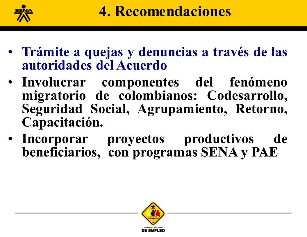 Trámite a quejas y denuncias a través de las autoridades del Acuerdo Involucrar componentes del fenómeno migratorio de colombianos: Codesarrollo, Segu