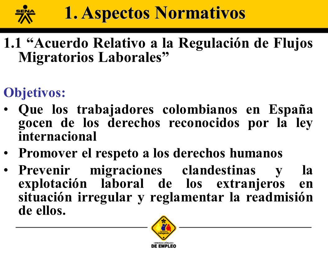 1.1 Acuerdo Relativo a la Regulación de Flujos Migratorios Laborales Objetivos: Que los trabajadores colombianos en España gocen de los derechos recon