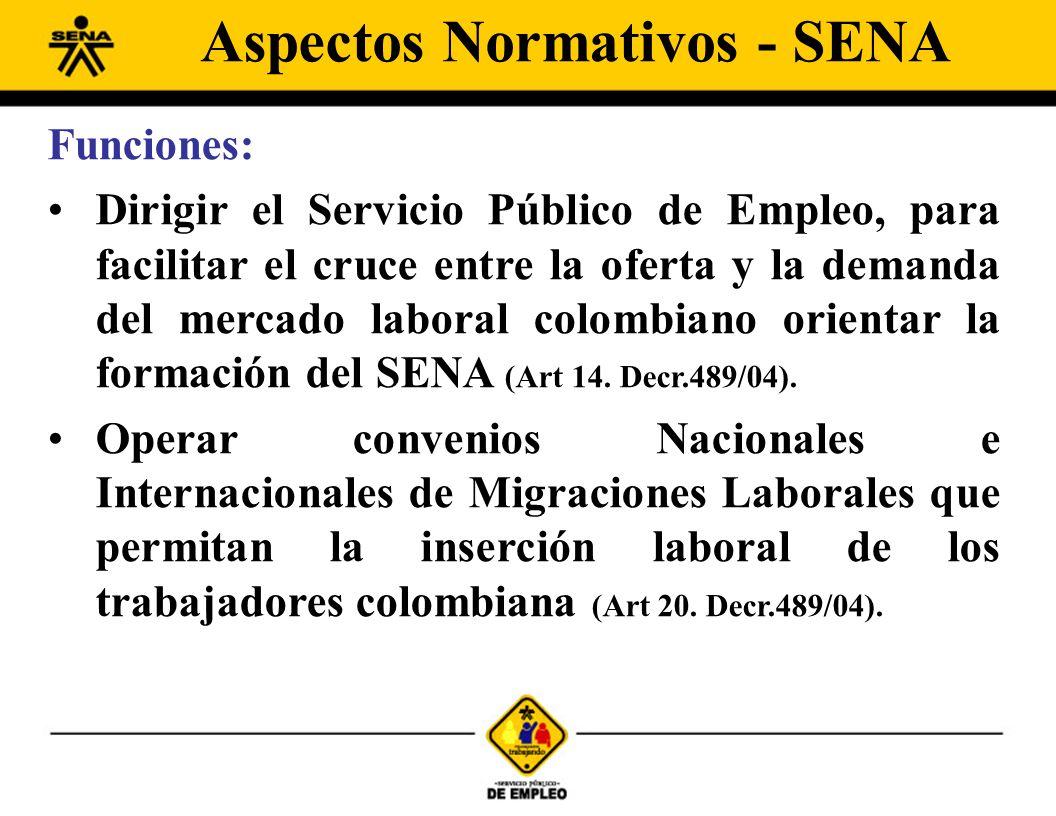 Funciones: Dirigir el Servicio Público de Empleo, para facilitar el cruce entre la oferta y la demanda del mercado laboral colombiano orientar la form