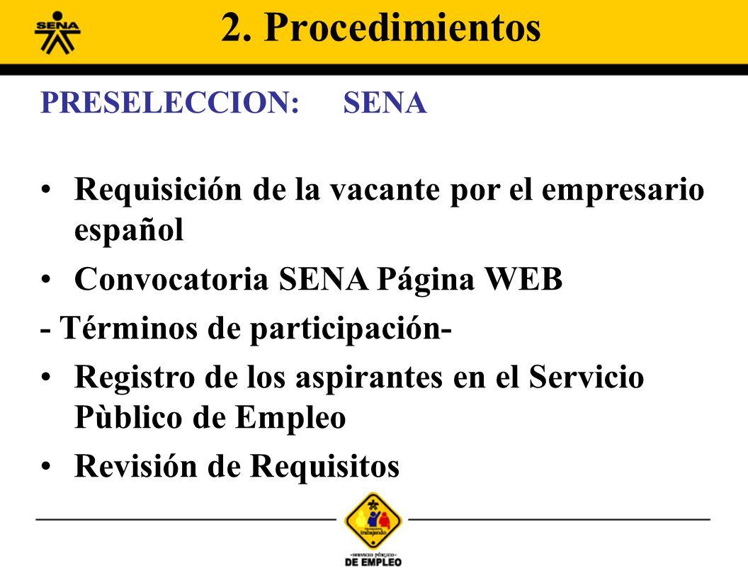 PRESELECCION:SENA Requisición de la vacante por el empresario español Convocatoria SENA Página WEB - Términos de participación- Registro de los aspirantes en el Servicio Pùblico de Empleo Revisión de Requisitos 2.