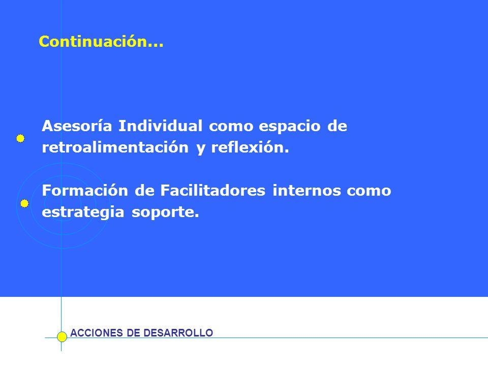 Asesoría Individual como espacio de retroalimentación y reflexión. Formación de Facilitadores internos como estrategia soporte. ACCIONES DE DESARROLLO