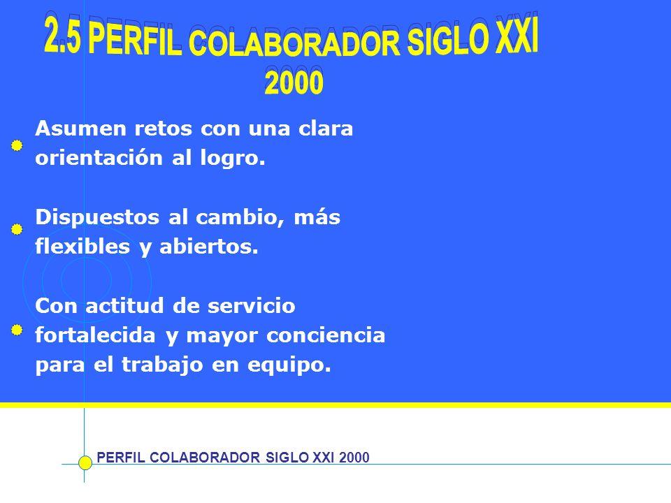 PERFIL COLABORADOR SIGLO XXI 2000 Asumen retos con una clara orientación al logro. Dispuestos al cambio, más flexibles y abiertos. Con actitud de serv