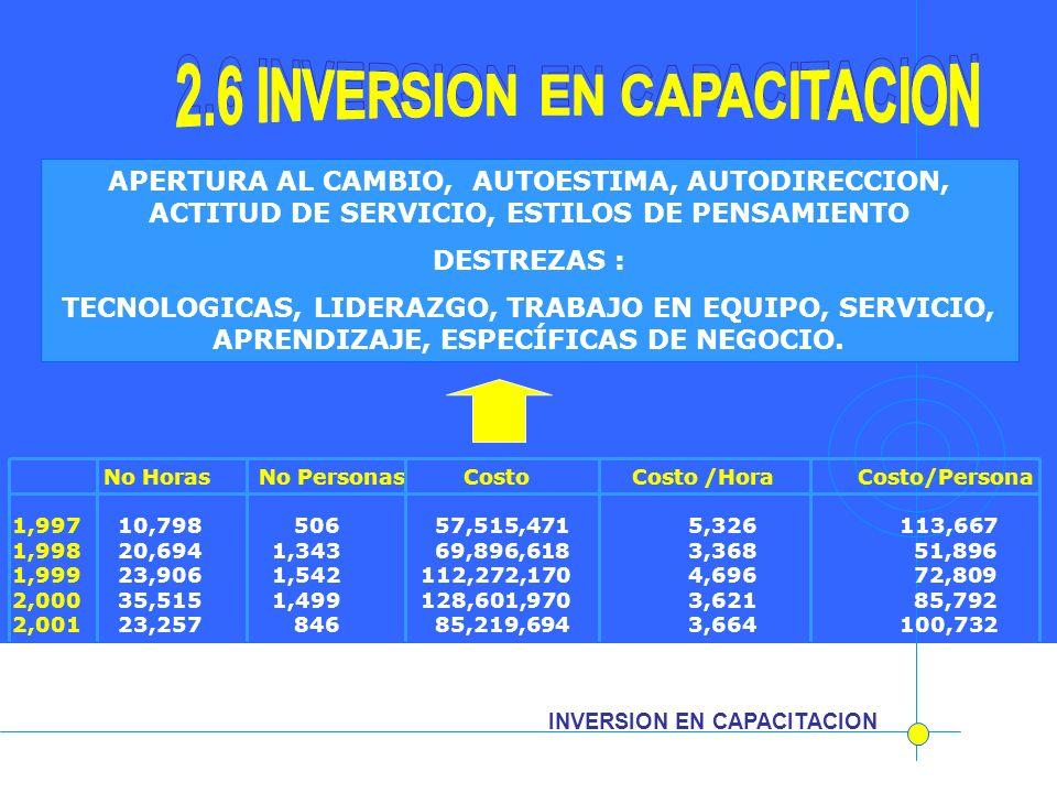 INVERSION EN CAPACITACION APERTURA AL CAMBIO, AUTOESTIMA, AUTODIRECCION, ACTITUD DE SERVICIO, ESTILOS DE PENSAMIENTO DESTREZAS : TECNOLOGICAS, LIDERAZ