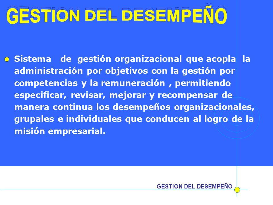 GESTION DEL DESEMPEÑO Sistema de gestión organizacional que acopla la administración por objetivos con la gestión por competencias y la remuneración,