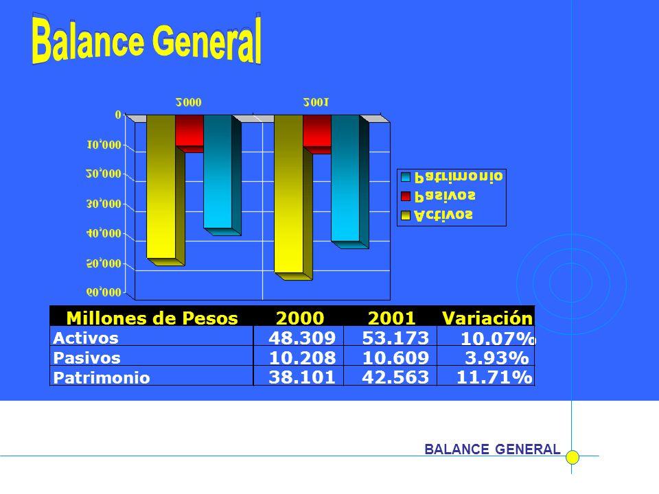 BALANCE GENERAL Millones de Pesos20002001Variación Activos 48.309 53.173 10.07% Pasivos 10.208 10.609 3.93% Patrimonio 38.10142.56311.71%