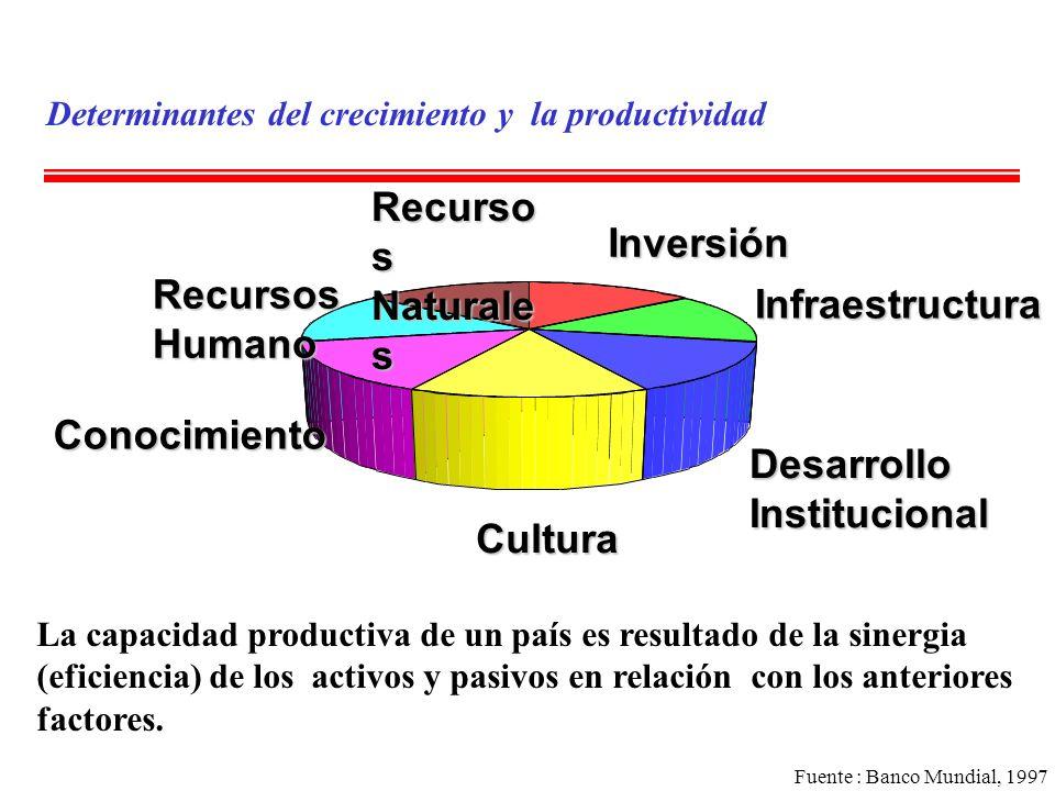 Determinantes del crecimiento y la productividad La capacidad productiva de un país es resultado de la sinergia (eficiencia) de los activos y pasivos