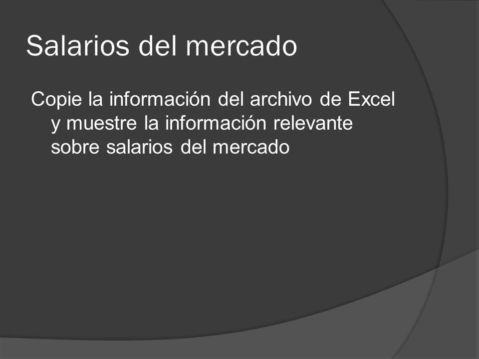 Salarios del mercado Copie la información del archivo de Excel y muestre la información relevante sobre salarios del mercado