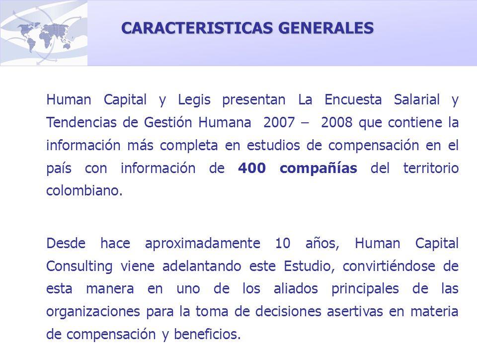 CARACTERISTICAS GENERALES Human Capital y Legis presentan La Encuesta Salarial y Tendencias de Gestión Humana 2007 – 2008 que contiene la información
