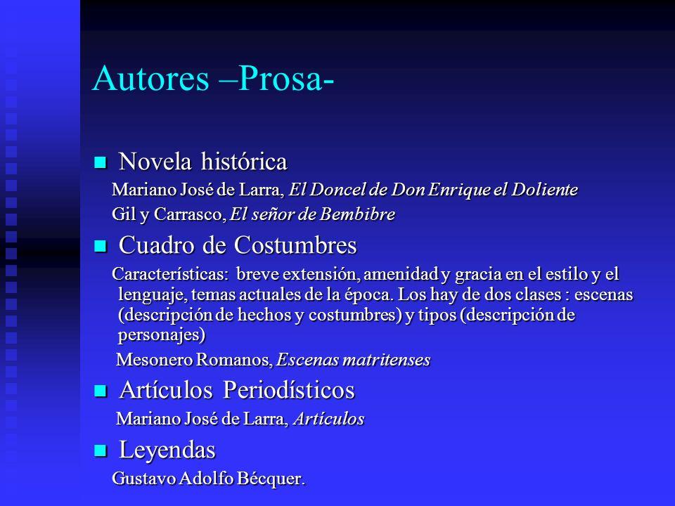 Autores –Prosa- Novela histórica Novela histórica Mariano José de Larra, El Doncel de Don Enrique el Doliente Mariano José de Larra, El Doncel de Don